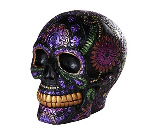 Pacific Giftware Day of The Dead Celebration Black Sugar Skull Floral Design Collectible 6 Inch