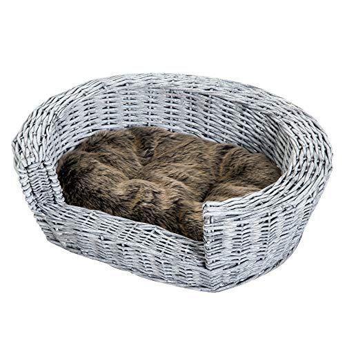 PawHut Raised Wicker Plush Faux Fur Pet Sleeping Couch with Cushion - Gray ()