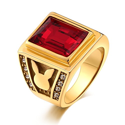 KnSam Stainless Steel Rings for Mens Punk Bands Red Rectangle Cubic Zirconia Rabbits Red Size (Qvc Gift Card)