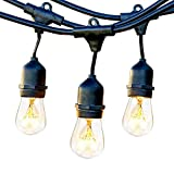 Brightech Ambience Pro Commercial Grade Outdoor Light Strand with Hanging Sockets - 48 Ft Market Cafe Edison Vintage Bistro Weatherproof Strand for Patio Garden Porch Backyard Party Deck Yard - Black
