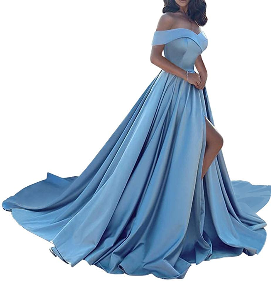 Sky bluee Monalia Women's Sexy Off Shoulder Prom Dreeses Long High Split Evening Gown