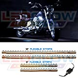 LEDGlow 4pc White Flexible Motorcycle Lighting Kit - 90 LEDs - On Off Power Switch