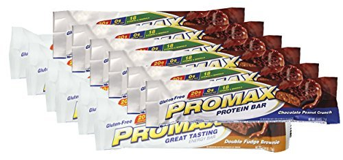 Promax Double Fudge (Promax Protein Bar-Choc Peanut Crunch/Double Fudge Brownie-6 of ea (12 Bars Total))