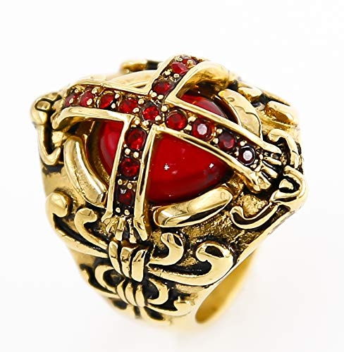 eejart Crusader Templar Cross Christian Rings Ruby Cubic-Zirconia 316L Stainless Steel Ring Size 7 to 15 (Gold-red-8) ()