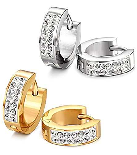 Stainless Steel Womens Mens Hoop Earrings Huggie Earrings CZ Piercings Hypoallergenic 18G (2pair Gold&Silver) ()