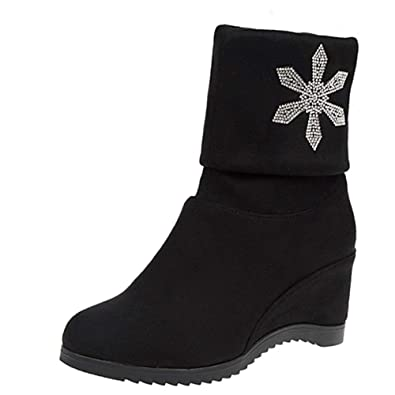 cf7729d2012c JIANGfu Women Winter Flock Solid Two Side Crystal Increase Wedges Ankle  Boots