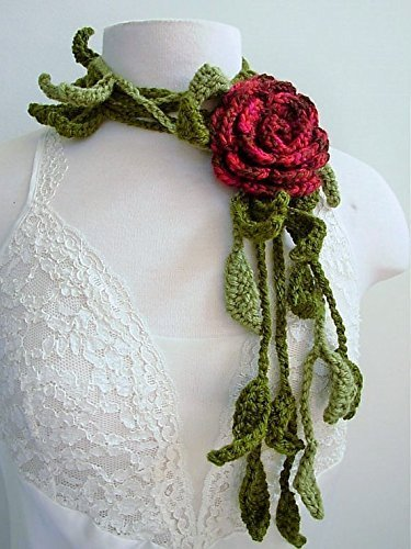Hand Crocheted Rose Flower - Hand Crocheted Scarf