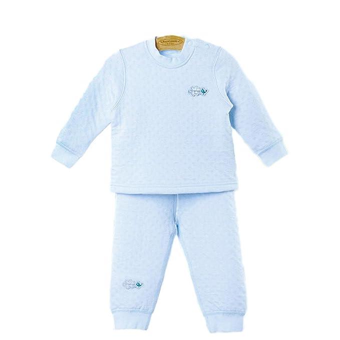 DQQ Unisex-Baby térmica 2 Piezas algodón de Grosor Sleepers Pijama Set Azul Azul Claro