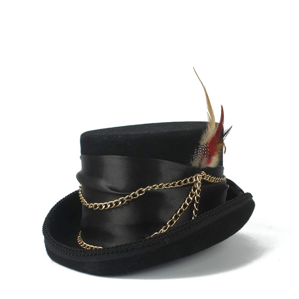 LL Women'sFeather Metal Chain Top Hat Ladies Wool Fedora Magician Party Hat 4Size S M L XL 13.5 cm (5.3 Inch) (Color : Black, Size : 61cm)