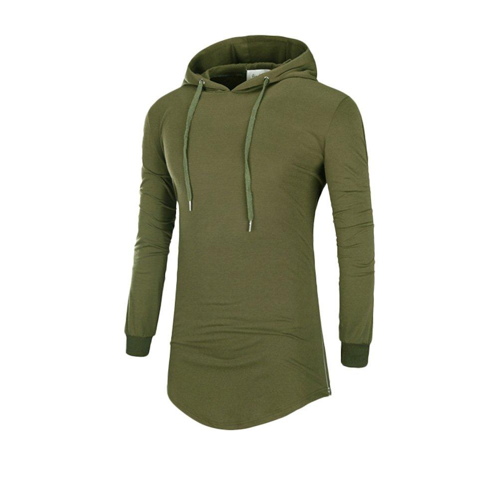 57b54cb85 Annystore Men's Plain Long Sleeve Drawstring Cotton Zipper Long Pullover  Hoodie Sweatshirt