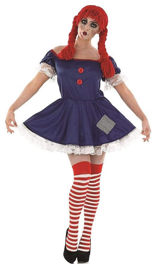 58a9117ab7 ILOVEFANCYDRESS - Disfraz de muñeca de trapo tétrica para adulto (vestido  azul y rojo y