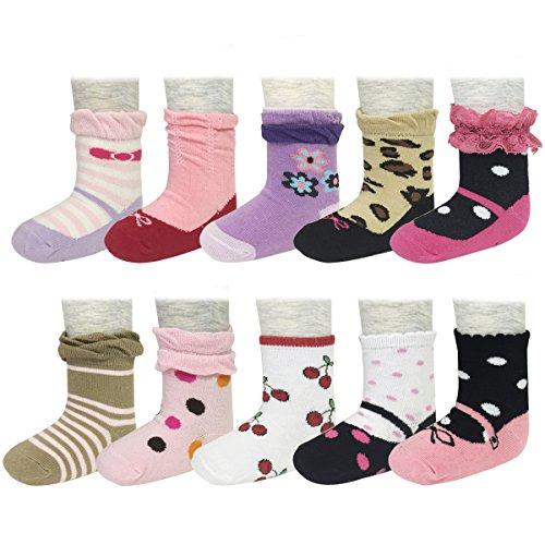 Bowbear Baby Girl 10-Pair Non-Slip Delightful Mary Jane Socks ()