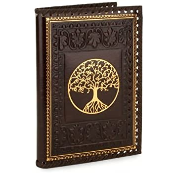 Italian Leather Journal TREE OF LIFE Brown Gold Stitched Lined Journal