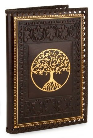 Italian Leather Journal TREE OF LIFE Brown Gold Stitched Lined - Italian Journal Brown Leather