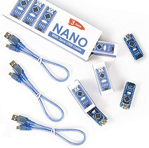 REXQualis Nano V3.0, Nano Board CH340 / ATmega328P with USB Cable, Compatible with Arduino Nano V3.0 (Nano x 3 with Cable)