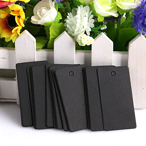 Zadaro 100Pcs Kraft Paper Rectangle Hang Tags Wedding Party Favor Label Price Card Gift with hole (Black) (Kraft Paper Hang Tags)