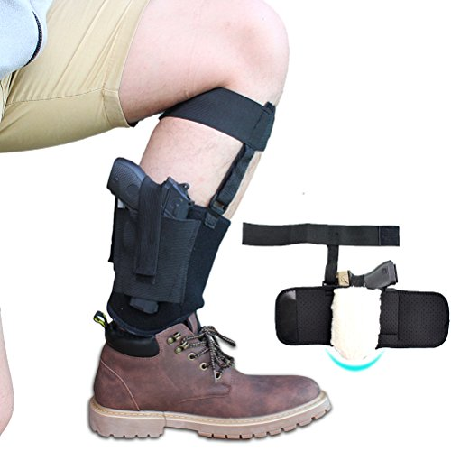 Non-slip Ankle Holster with Synthetic Sheepskin Padding for Concealed Carry, Neoprene Ankle rig with MAG Pouch, Calf & Retention Straps for Women Men Fits Small to Medium Frame Pistols and Revolver