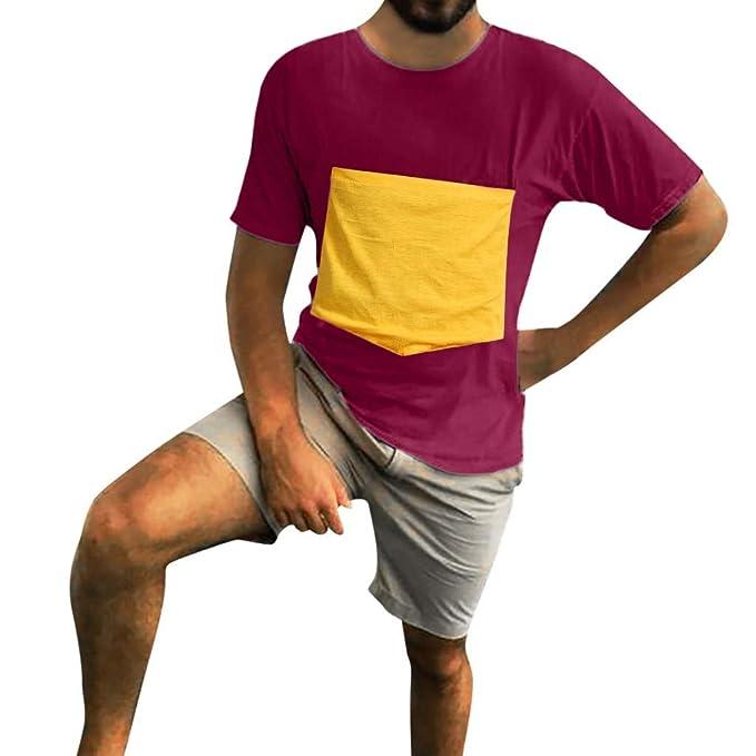 YpingLonk Camiseta Hombre Gigante El Pecho Bolsillo ...