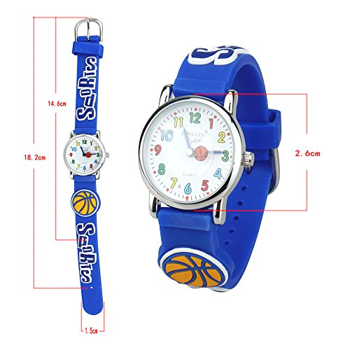 Kids Time Teacher Watch Easy Read Quartz Watch with 3D Cartoon Soft Silicone Watch Band Comfortable for Children