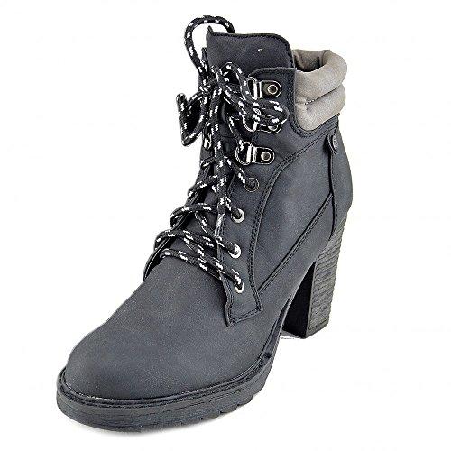 Bottines Lace Ladies Combat Noir Marche Up Kick Casual Footwear qYwER5I