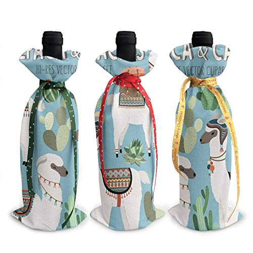 Cactus And Llama Clipart Wine Bags Wraps Dresses Reusable Beer Red Wine Bottle Gift Bags Travel Protector Package 3 ()