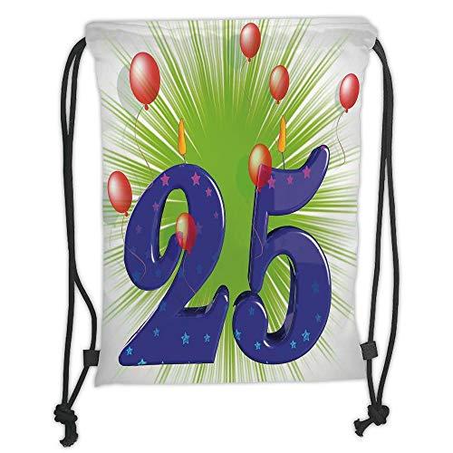 (25th Birthday Decorations,Funky Vibrant Twenty Five with Stars Candle Balloons,Purple Green Dark Coral Soft Satin,5 Liter Capacity,Adjustable String Closu)