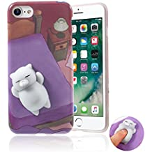 Squishy Cat iPhone 7 Case, Kawaii Cute Soft TPU Shell Squeeze Squishies Slow Rising Jumbo Toy Stress Relieve Phone Back Cover for iPhone 7 4.7'' - Purple