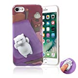 Squishy Cat iPhone 6/6S Case, Kawaii Cute Soft TPU Shell Squeeze Squishies Slow Rising Jumbo Toy Stress Relieve Phone Back Cover for iPhone 6/6S 4.7'' - Purple