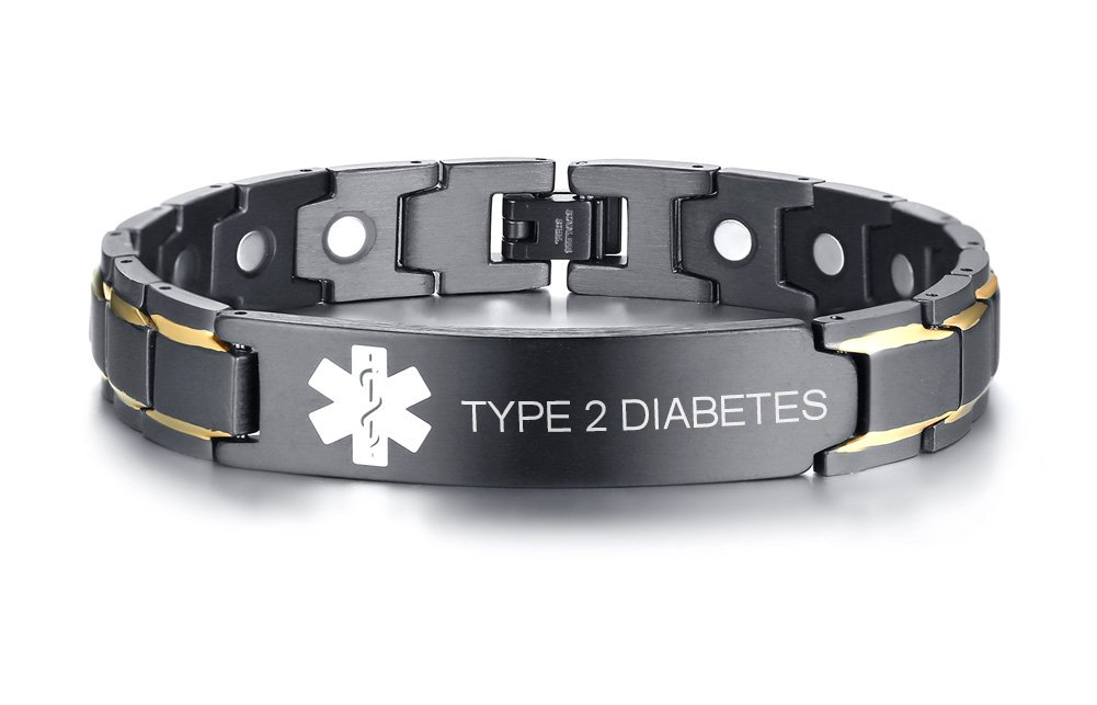 Type 2 Diabetes Black Ion Plated Stainless Steel Magnetic Therapy Health Emergancy Medical Alert ID Bracelets for Men Dad,8.6''
