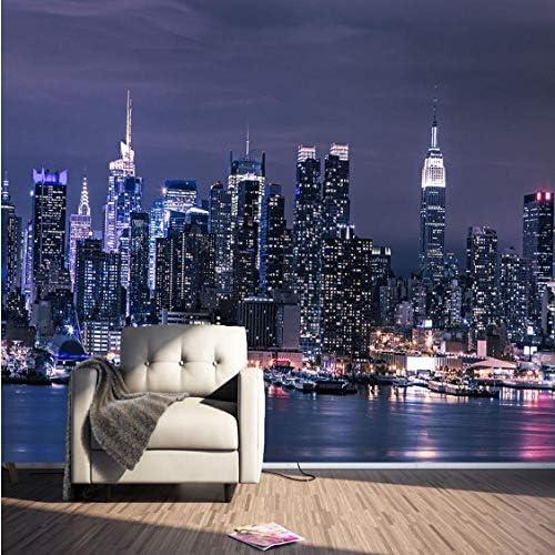カスタム3D不織布壁紙現代ニューヨーク市夜景リビングルームテレビ背景壁の装飾壁画壁紙3D-120X100CM