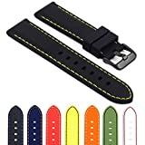StrapsCo Rubber Divers Sport Replacement Watch Band w/ Matte Black Buckle