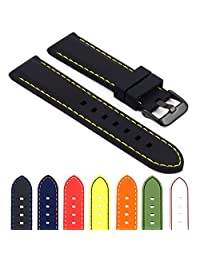 StrapsCo Rubber Divers Sport Replacement Watch Band in Black w/ Yellow Stitching & Matte Black Buckle 22mm
