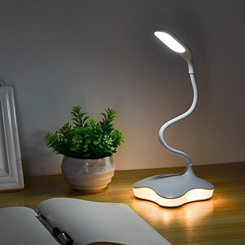 LED Desk Lamp, XIAOKOA Eye-caring Flexible Table Lamps, Dimmable Office Reading Lamp with USB Charging Port, Touch Control, with Night Light and 3 levels brightness, Twistable Tube,14LED Table Lamp