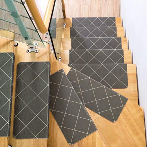WISEHOME Pack of 5 Carpet Stair Treads, Anti-Skid Stairs Rug, Non-Slip Floor Step Mats, Cuttable, Seamless Adhesive Pad-Square,35.5x9.5x1.7 inch