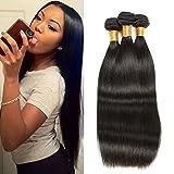 Sunwell Brazilian Virgin Hair Weave 3 Bundles Straight Grade 7A 100% Unprocessed Remy Human Hair Weft Extensions 300g/Lot Natural Black (14