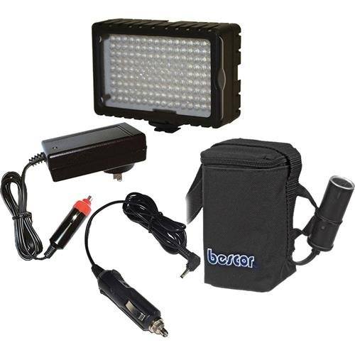 Bescor LED-125B 125W On-Camera Light and Battery Kit, Includes LED-125 Light, HP-3NC Starved Electrolyte Battery, ATM-PRU Charger, CLC-125 Cigarette Adapter