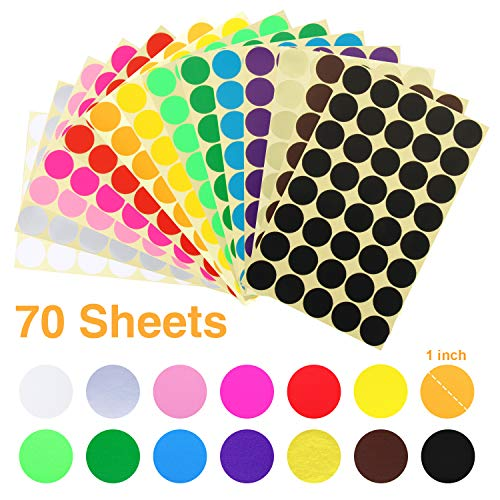 (JANYUN 2688 Pcs 1 Inch Round Coding Circle Dot Labels, 14 Colors)