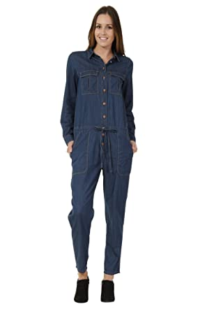 Amazon Com Womens Denim Boilersuit Lightweight Blue Denim All In