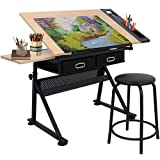 bbbuy MDF調節可能な製図図面テーブルデスクTiltable Tabletopクラフト駅art-hobby Table with Stool and 2Drawers for WritingアートクラフトWork Station