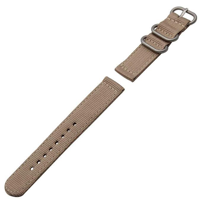 Bestow Relojes de Pulsera Reloj Hebilla de Acero Inoxidable Correa de Nylon(Blanco): Amazon.es: Ropa y accesorios