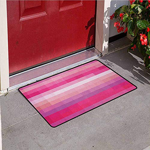 (GloriaJohnson Hot Pink Welcome Door mat Abstract Art with Modern Expressionist Design Vibrant Pink Tones Door mat is odorless and Durable W19.7 x L31.5 Inch Pink Dried Rose Pale Pink)