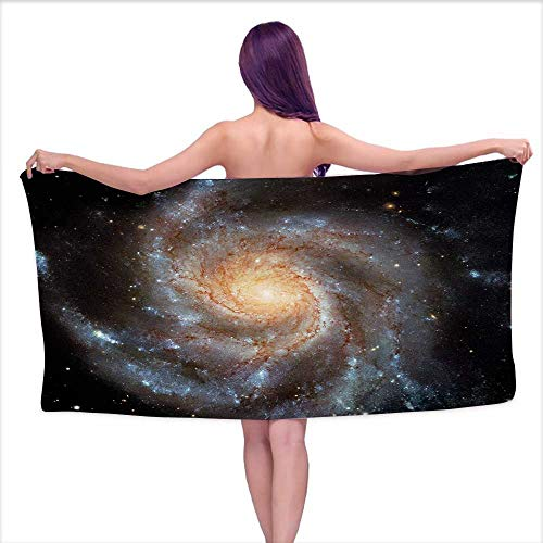 - Soft Bath Towel Galaxy,Stars in Galaxy Spiral Planet Outer Space Nebula Astronomy Theme Image Print,Black Beige Violet,W10 xL39 for Toddlers
