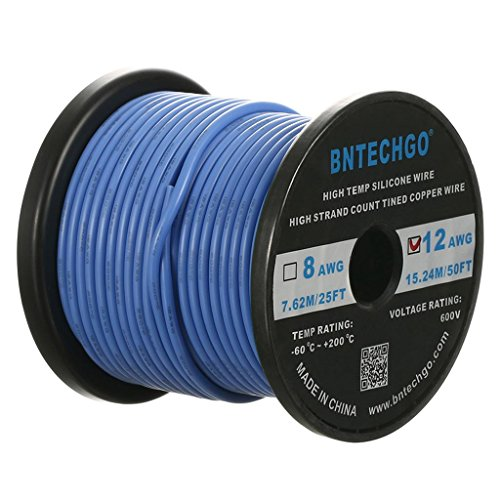 BNTECHGO 12 Gauge Silicone Wire Spool Blue 50 feet Ultra Flexible High Temp 200 deg C 600V 12 AWG Silicone Rubber Wire 680 Strands of Tinned Copper Wire Stranded Wire for Model Battery Low Impedance