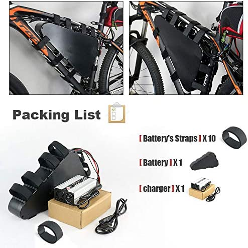 52V 20AH Triangle E-Bike Lithium Battery Waterproof Shockproof Rechargeable Battery Pack with BMS//Charger for 48V 200W-1500W Mountain Electric Bicycle Motor