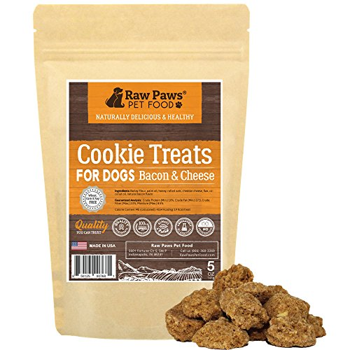 Raw Paws Cheese & Bacon Dog Treats, 5-oz - Dog Gourmet Cookies Made in USA Only - Puppy Bacon Treats for Training - Corn, Soy & Wheat Free Bacon Cheese Dog Snacks - Natural, Oven-Baked Soft Dog Treats ()