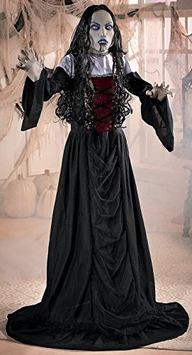 Standing 5-ft Gothic Woman Vampire Bride in Black w/ Red Lighted Eyes Halloween Prop 60 Inches Tall ()