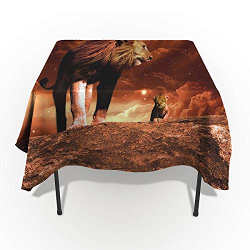 Fantasy Star Rectangle Polyester Tablecloth, Starry Sky Warm Picture Lion and His Son Tablecloths Machine Washable Table Cover Decorative Table Cloth for Kitchen Dinning Banquet Parties 60 x 60 Inch