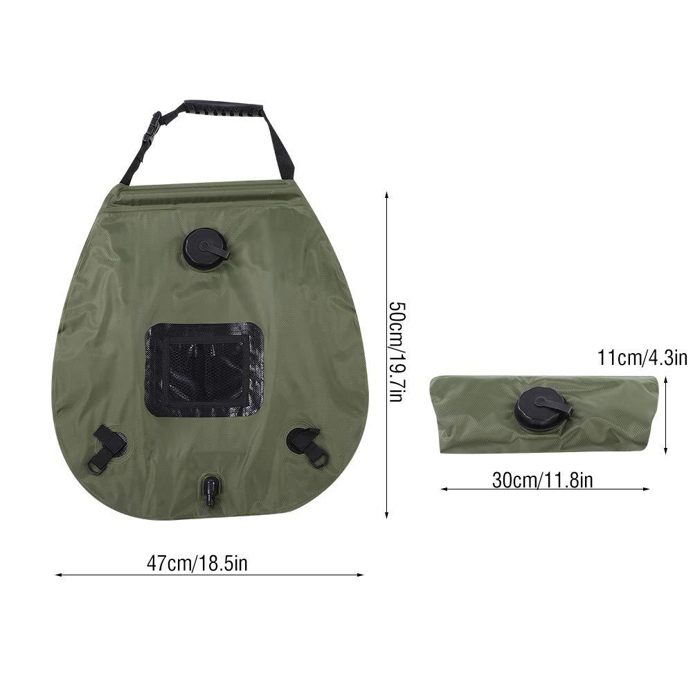 Alomejor Camping Dusche Tasche 20L PVC Heizung Warmwasser Dusche Tasche mit Temperaturanzeige f/ür Outdoor Camping Wandern Reisen