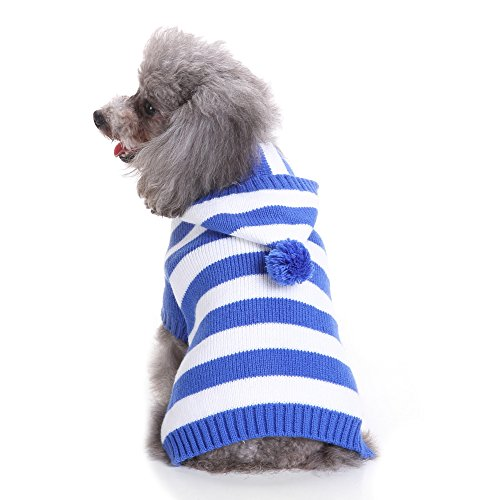 - S-Lifeeling Blue and White Striped Dog Sweater Holiday Halloween Christmas Pet Clothes Soft Comfortable Dog Clothes