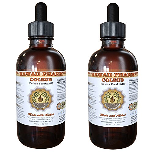 Coleus Tincture, Coleus (Coleus Forskohlii) Dried Root Liquid Extrac Herbal Dietary Supplement 2x4 oz by HawaiiPharm